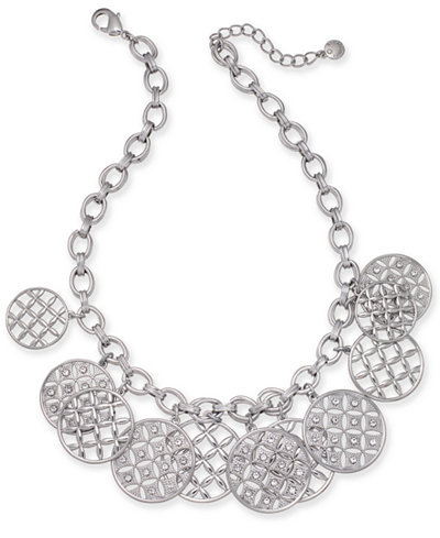 Charter Club Silver-Tone Crystal Front Statement Necklace, 17