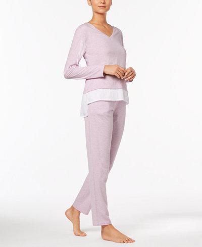 Alfani Solid Woven Pajama Top & Pants Sleep Separates, Created for Macy's