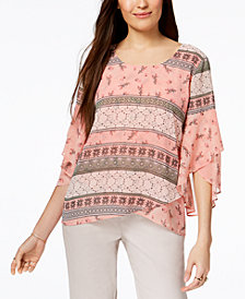 Style & Co Petite Printed Tulip-Hem Top, Created for Macy's