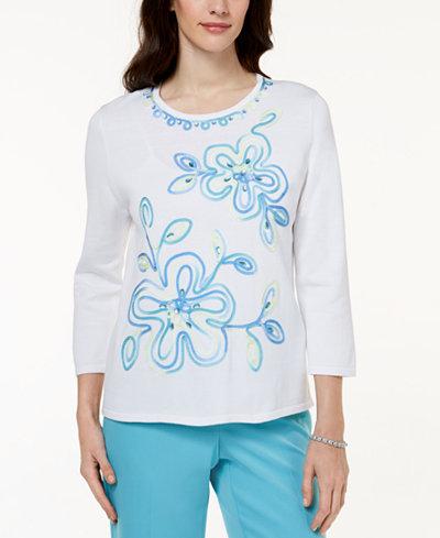 Alfred Dunner Bonita Springs Embellished Sweater