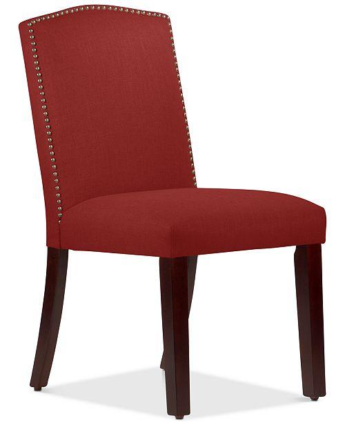 Martha Stewart Collection Callon Linen Nail Button Dining Chair, Quick Ship