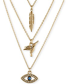Gold-Tone Trio Charm Necklace