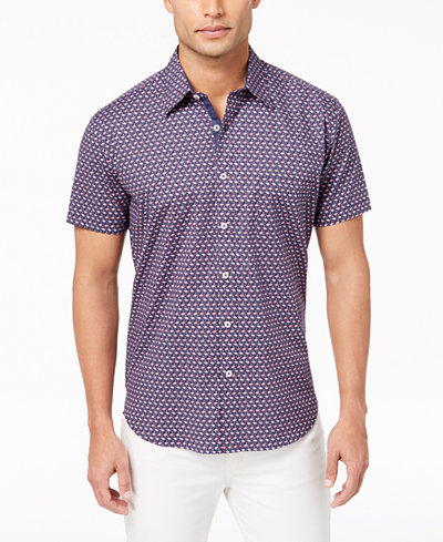 Con.Struct Men's Stretch Flamingo-Print Shirt, Created for Macy's