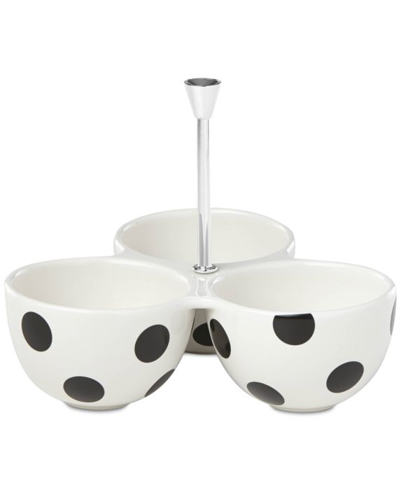 kate spade new york All in Good Taste Deco Dot 3-Part Divided Server Toppings Dish, White, Size: SERV TRAY