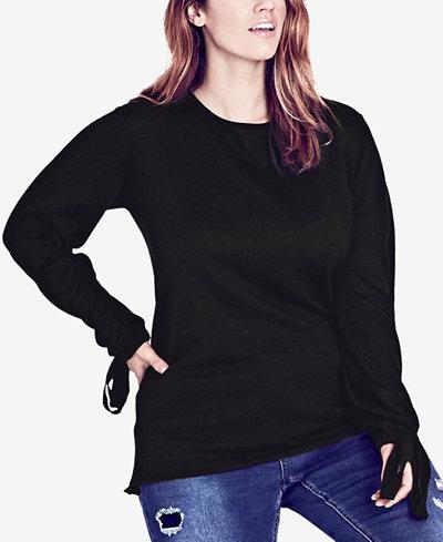 City Chic Trendy Plus Size Tie-Cuff Sweater