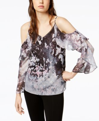 Charmant Image 1 Of Bar III Printed Cold Shoulder Top, Created For Macyu0027s