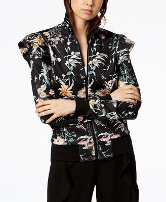 Bar III Ruffled Floral-Print Jacket, Created for Macy's
