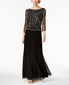 J Kara Beaded Sequin-Embellished Gown