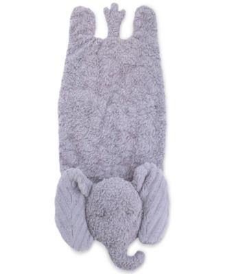Luxury Plush Tummy Time Mat Blanket Grey Elephant