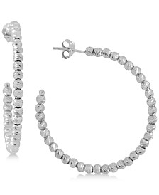 Giani Bernini Small Beaded Hoop Earrings in Sterling Silver, Created for Macy's
