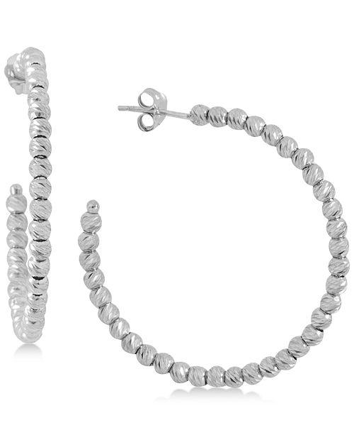 Giani Bernini Small Beaded Hoop Earrings in Sterling Silver, Created for Macy's