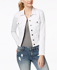 Kut from the Kloth Petite Kara Frayed-Hem Denim Jacket