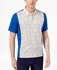 Daniel Hechter Paris Men's Mix-Media Colorblocked Graphic-Print Polo, Created for Macy's