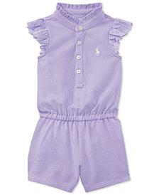 Ralph Lauren Ruffled Cotton Romper, Baby Girls