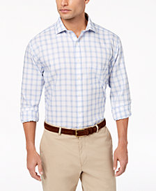Tasso Elba Men's Classic/Regular Fit Non-Iron Basketweave Windowpane Dress Shirt, Created for Macy's