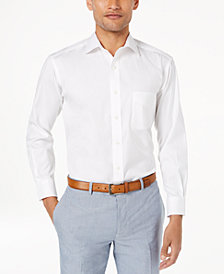 Club Room Men's Classic/Regular Fit Performance Stretch Pinpoint Solid French Cuff Dress Shirt, Created for Macy's