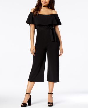 Almost Famous Juniors' Off-The-Shoulder Cropped Jumpsuit