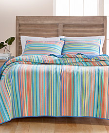 Martha Stewart Collection Tropical Yarn Dye 100% Cotton King Quilt, Created for Macy's