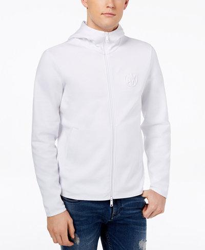 Armani Exchange Men's High Neck Embossed-Logo Hoodie