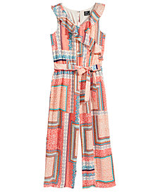 Pink & Violet Faux-Wrap Printed Jumpsuit, Big Girls