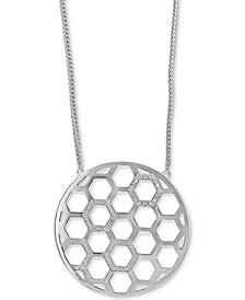 EFFY® Diamond Honeycomb Circle Pendant Necklace (1/4 ct. t.w.) in Sterling Silver