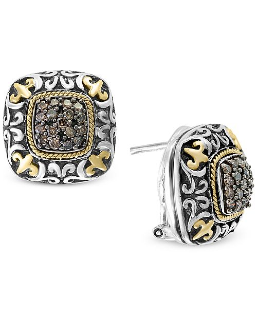 EFFY® Diamond Square Cluster Filigree Stud Earrings (5/8 ct. t.w.) in Sterling Silver and 18k Gold