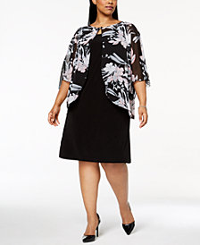 Connected Plus Size Floral-Print Capelet Dress