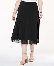 Plus Size Mesh-Hem Midi Skirt, Created for Macy's