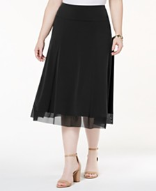 JM Collection Plus Size Mesh-Hem Midi Skirt, Created for Macy's