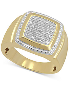 Men's Diamond Cluster Style Ring (1/10 ct. t.w.) in 10k Gold-Plated Sterling Silver
