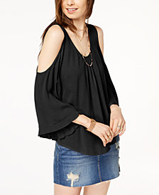 Gypsies & Moondust Juniors' Cold-Shoulder Ruffle-Sleeved Blouse