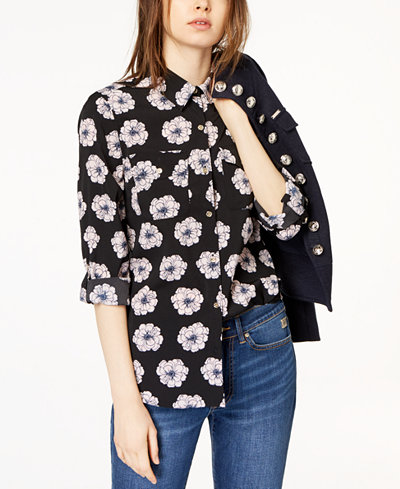 Tommy Hilfiger Floral-Print Utility Shirt, Created for Macy's