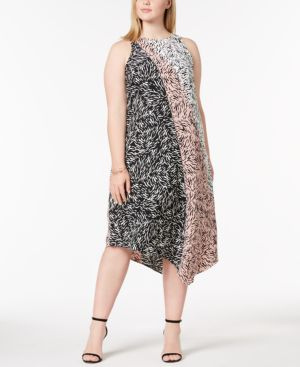 Image of Alfani Plus Size Asymmetrical-Hem Midi Dress, Created for Macy's