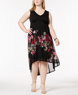 I.N.C. Plus Size Printed Mesh High Low Dress, Created For Macy's by Inc International Concepts