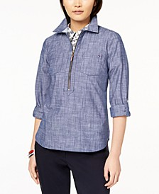 Cotton Chambray Half-Zip Top, Created for Macy's