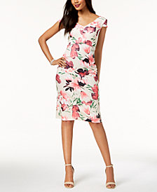 Connected Floral-Print Midi Sheath Dress