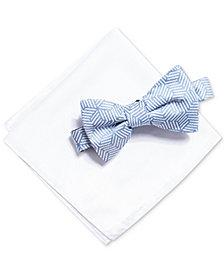 Alfani Men's Geometric Bow Tie & Solid Pocket Square Set, Created for Macy's