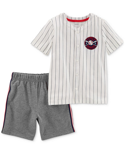 Carter's 2-Pc. Baseball Graphic-Print Cotton T-Shirt & Shorts Set, Baby Boys