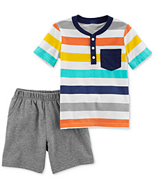 Carter's 2-Pc. Cotton Striped Henley T-Shirt & Shorts Set, Baby Boys