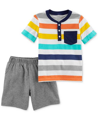 Carter's 2-Pc. Cotton Striped Henley T-Shirt & Shorts Set, Baby Boys