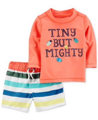 2-Pc. Graphic-Print Rash Guard, Baby Boys
