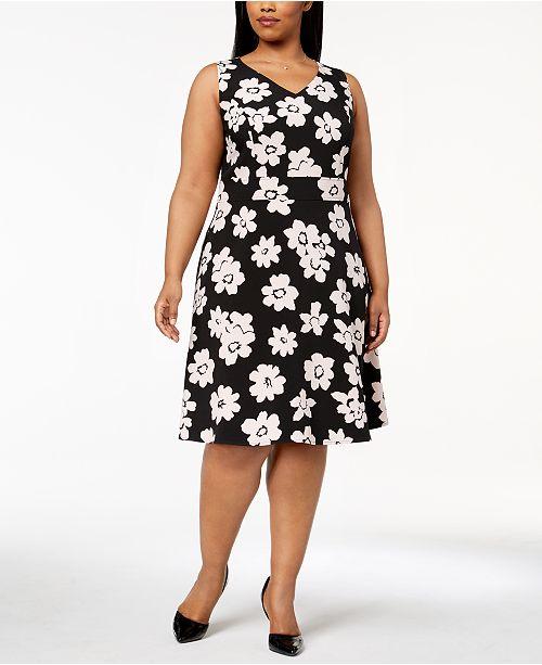 Nine West Plus Size Daisy Print Fit Flare Dress Dresses Macys