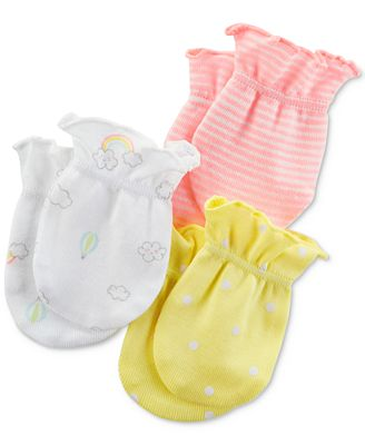Carter's 3-Pack Cotton Mittens, Baby Girls