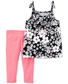 Carter's 2-Pc. Floral-Print Tunic & Leggings Set, Baby Girls