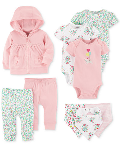 Carter's 9-Pc. Cotton Bibs, Hoodie, Bodysuits & Pants Set, Baby Girls