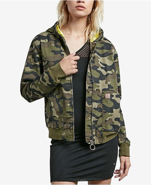 Volcom Juniors' Frochickie Printed Hooded Bomber Jacket