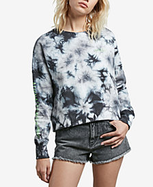Volcom Juniors' Ozzie Tie-Dyed Alien Graphic Cropped Sweatshirt
