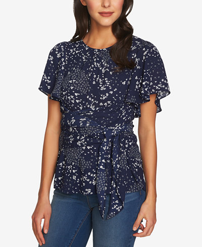 1.STATE Printed Wrap Top