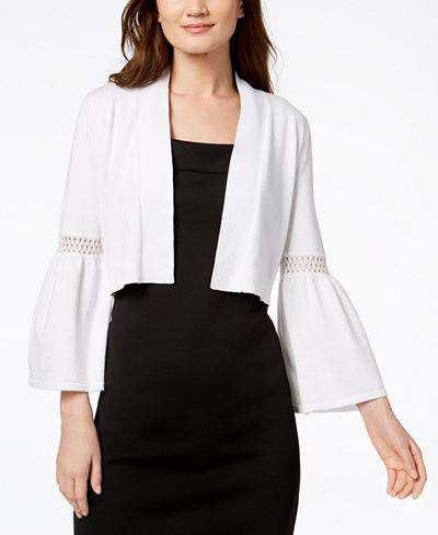 Calvin Klein Lace-Trim Bell-Sleeve Cardigan