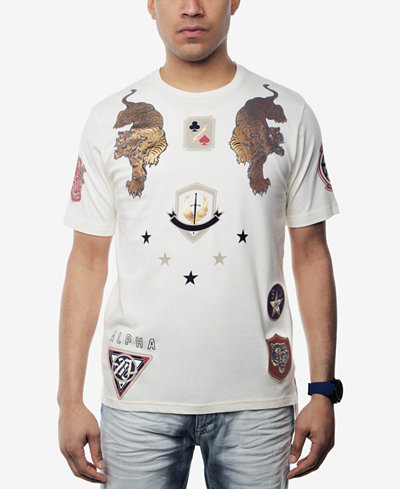 Sean John Men's Alpha Metallic-Print Patch T-Shirt, Created for Macy's